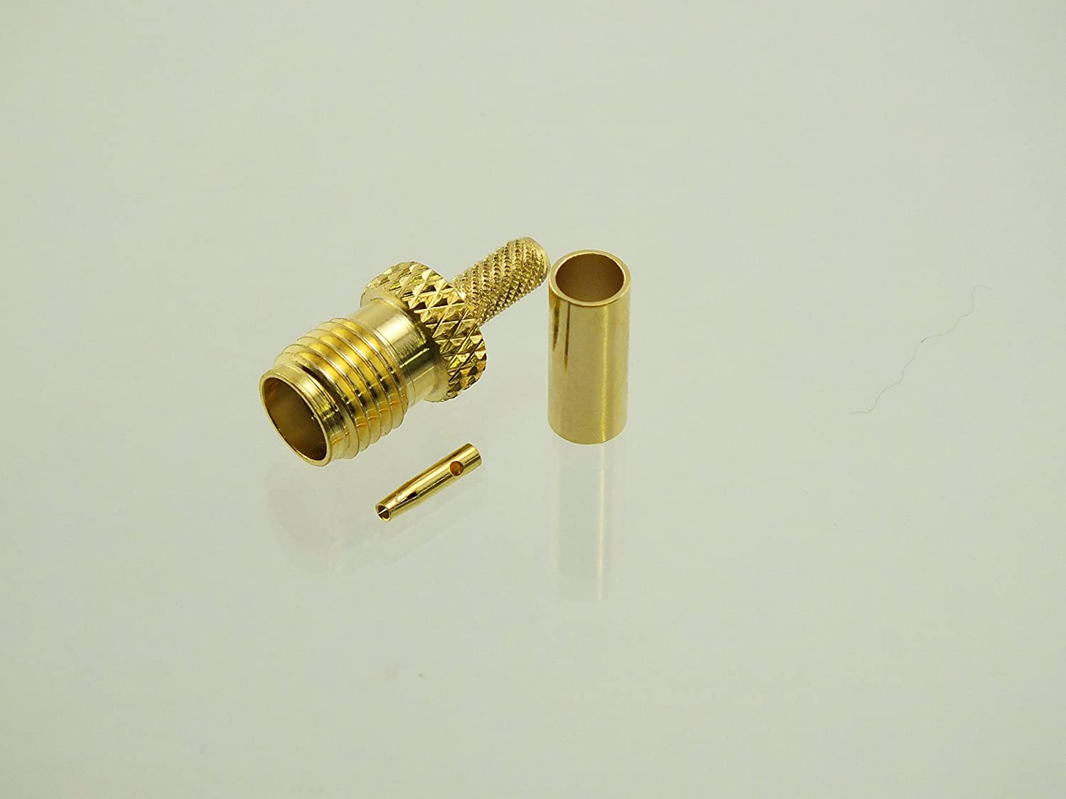 W5SWL Brand Premium Series SMA Female Gold Crimp Coax Connector fits RG-174 and LMR100 Type Cables 2-Pack