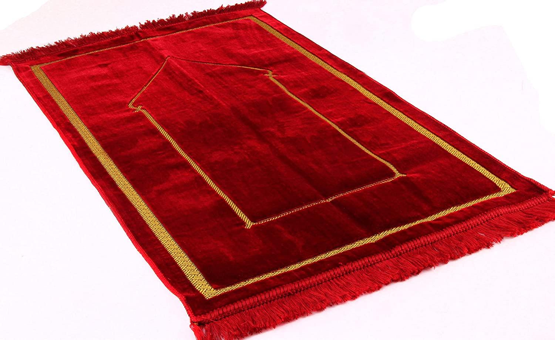 Premium Islamic Prayer Rug/Janamaz Sajjadah/Namaz Seccade by GOLD CASE - Made in Turkey (Red)