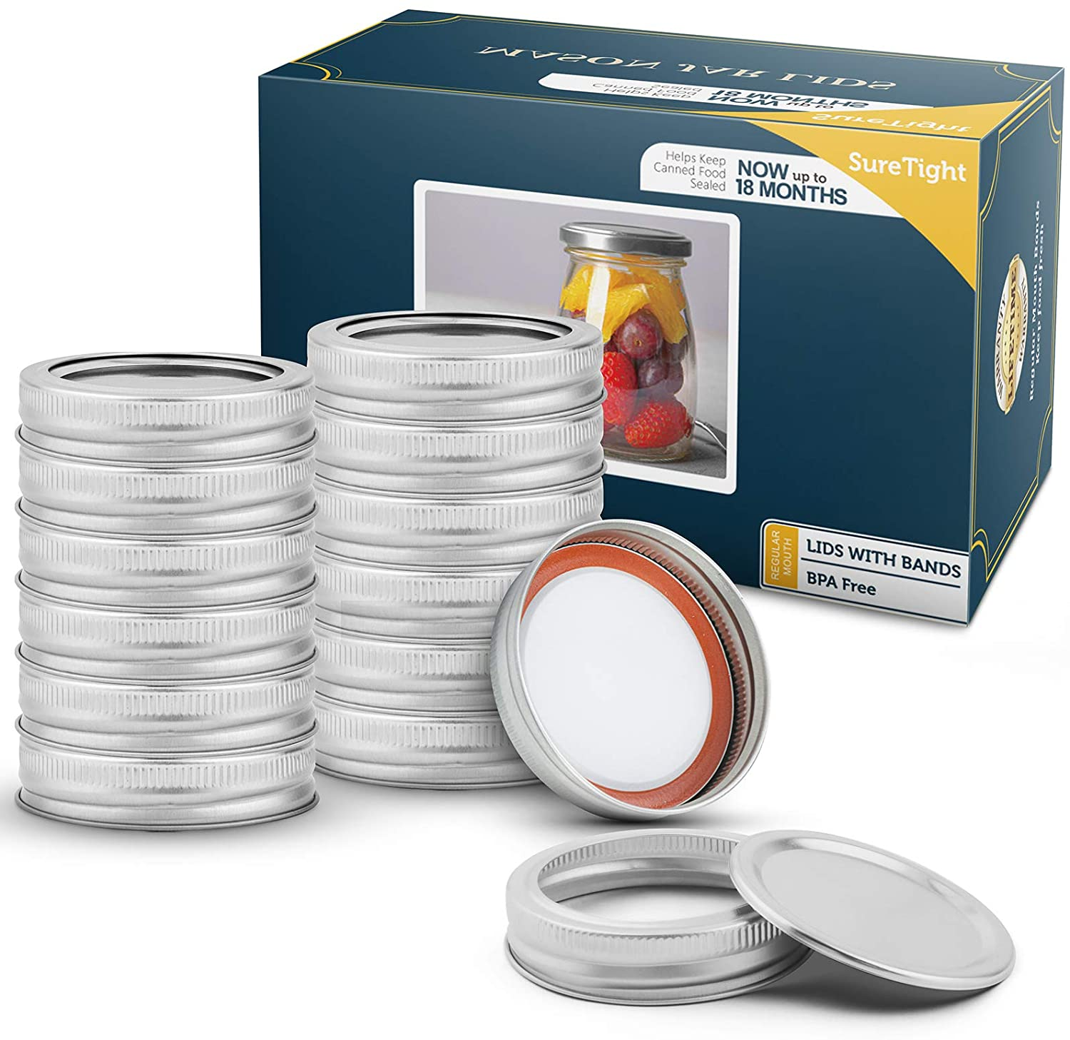 Blisset Mason Jars Glass Regular Mouth Metal Airtight Lids for Meal Prep, Food Storage, Canning, Drinking, Overnight Oats, Jelly, Dry Food, Spices, Salads, Yogurt 12 Sets per Box (Silver)