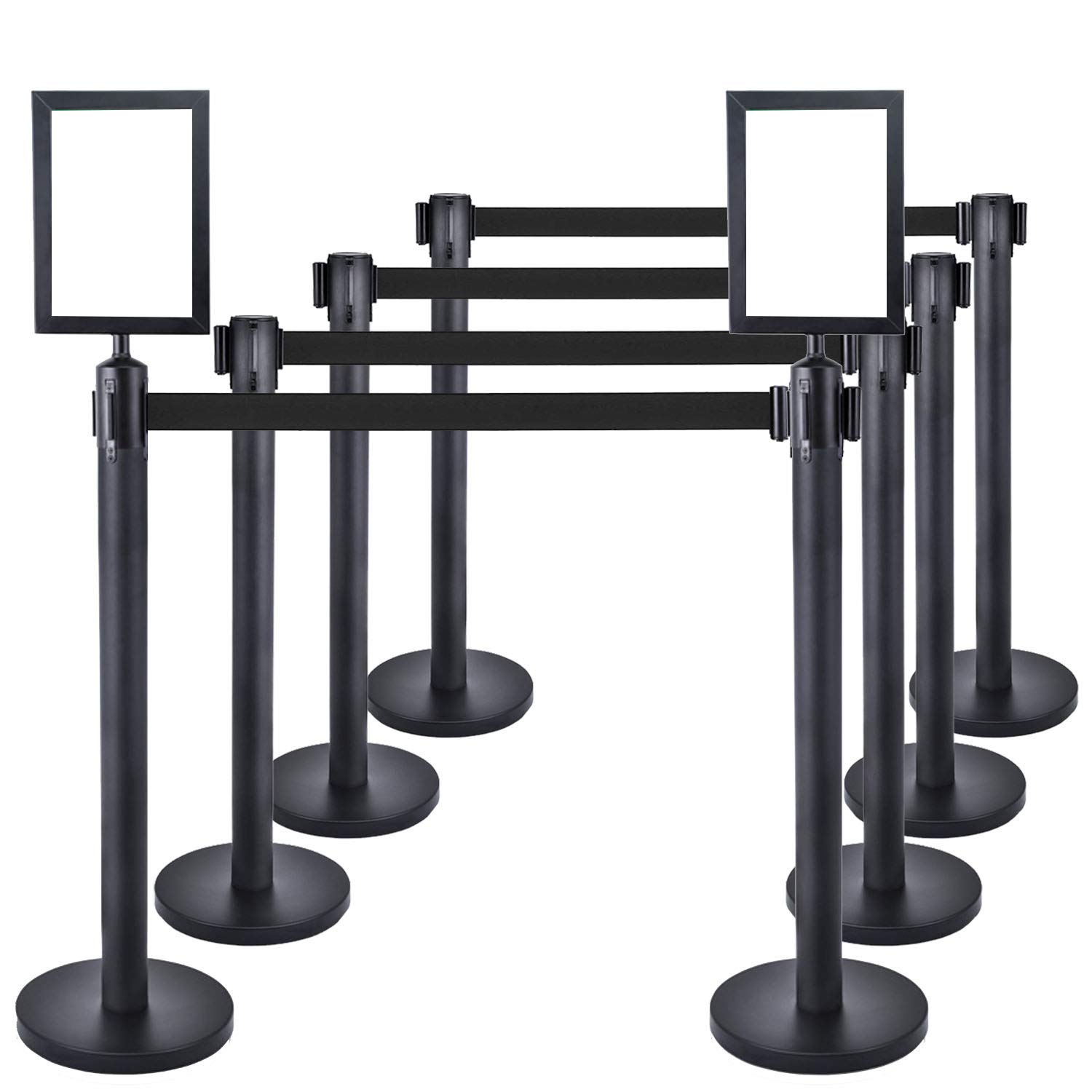 8 PCS Heavy Duty Steel Black Stanchion Post/Pole/Sign/Rope with 9.8 ft Retractable Black Belt and 2PCS Sign Holder Portrait Frame | Safety Locking Belt | 4-Way Connect | Crowd Control Barrier