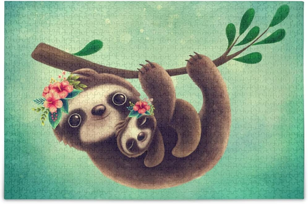 ALAZA Jigsaw Puzzles for Adults 1000 Pieces Cute Sloth Mom and Baby Vintage Puzzle Buffalo Games
