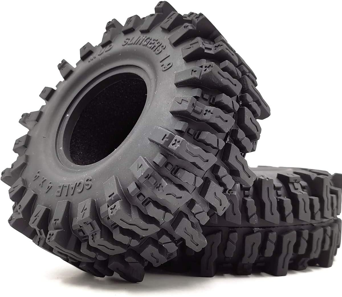 2pcs RC 1.9 Mud Slingers Tires Super Grip Crawler Tyre Height 120mm/4.72inch Fit for 1.9inch Wheel Rim