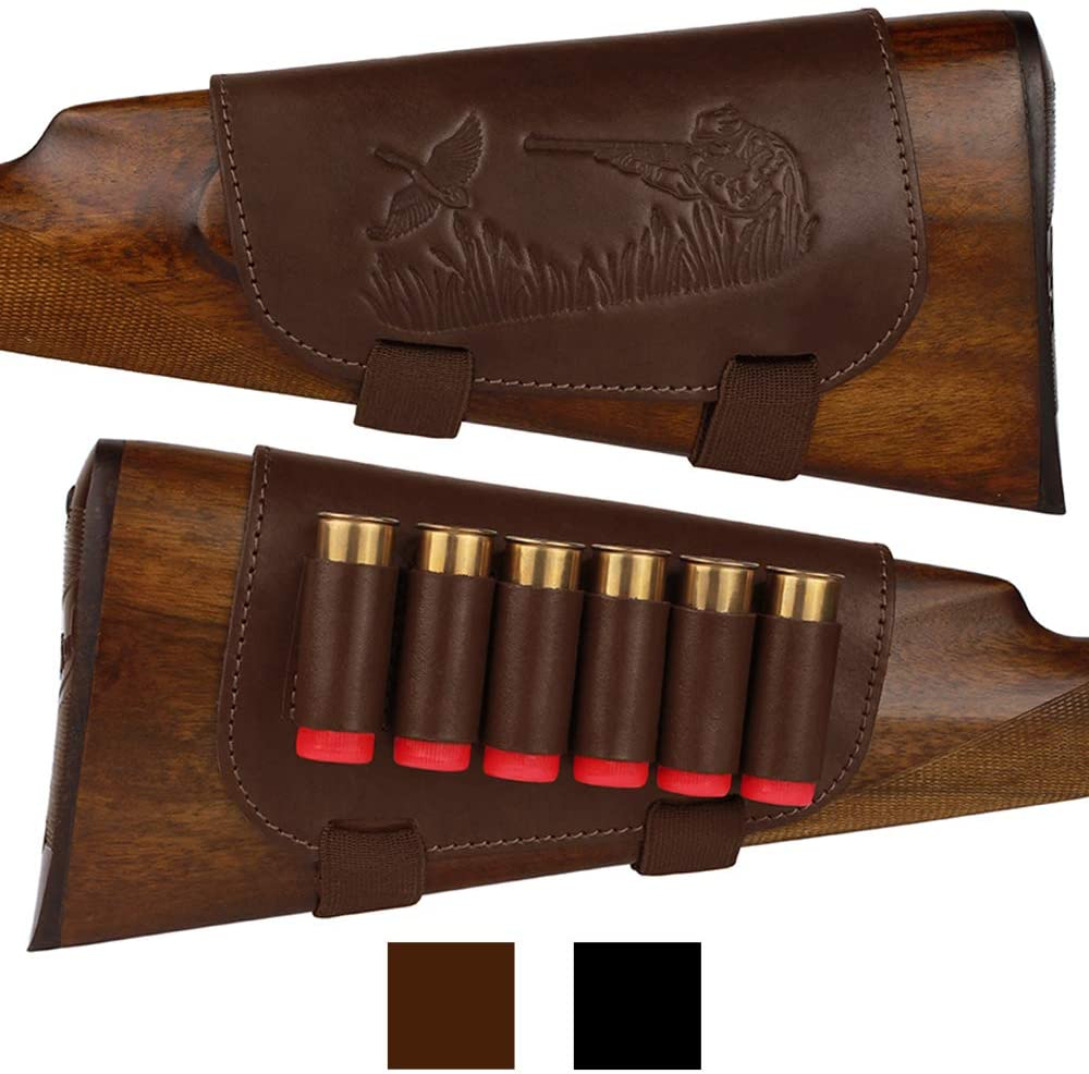 BRONZEDOG Genuine Leather Buttstock Ammo Holder Shotshell Carrier Hunting Ammo Pouch Shotgun Shell Cover 12 (16) Gauge Right Handed Black Brown