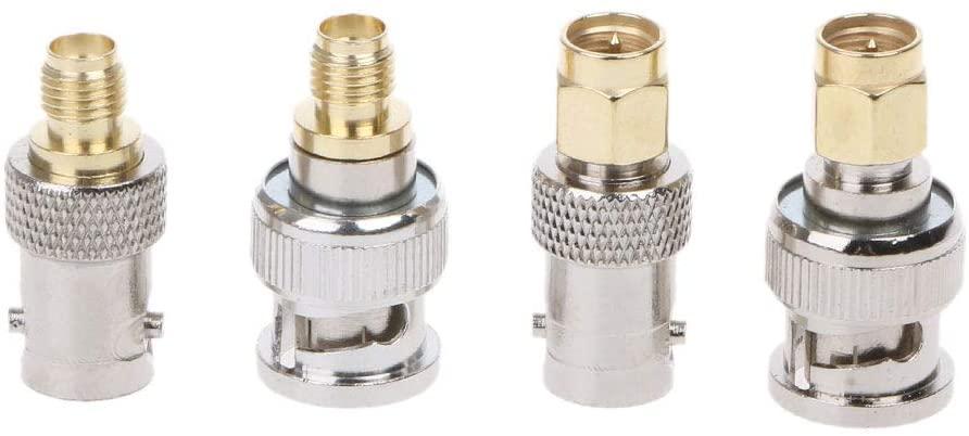 Pinhaijing 4Pcs BNC to SMA Type Male Female RF Connector Adapter Kit Test Converter Set