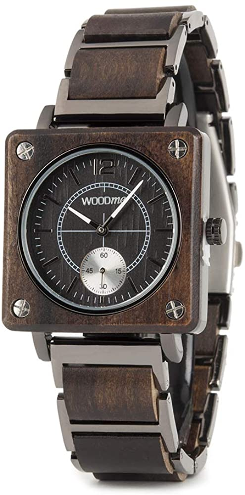 WOODME Wooden Watches for Men Luxury Stainless Steel Natural Wood Watch Chronograph Military Japanese Quartz Wristwatches with Unique Box
