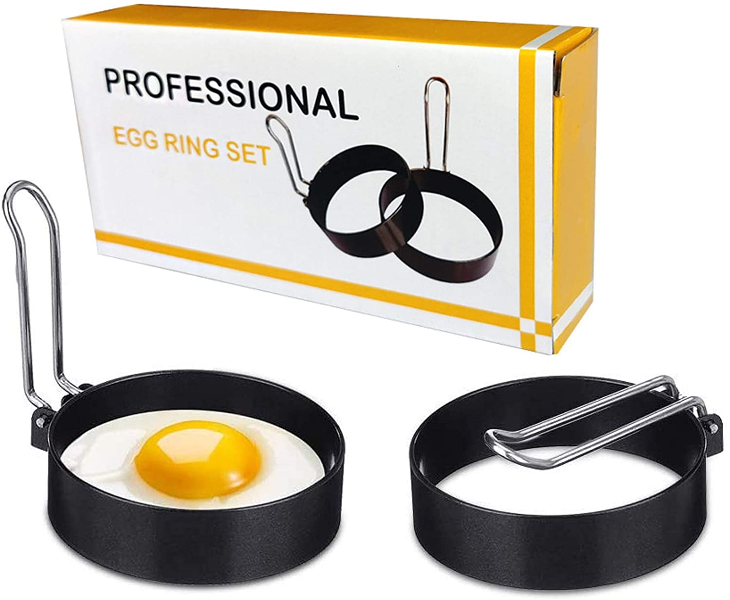 Egg Ring, 2 Pack Egg Cooker Rings, Round Breakfast Household Egg Maker Molds Circles, Kitchen Tool for Frying Shaping Cooking Eggs