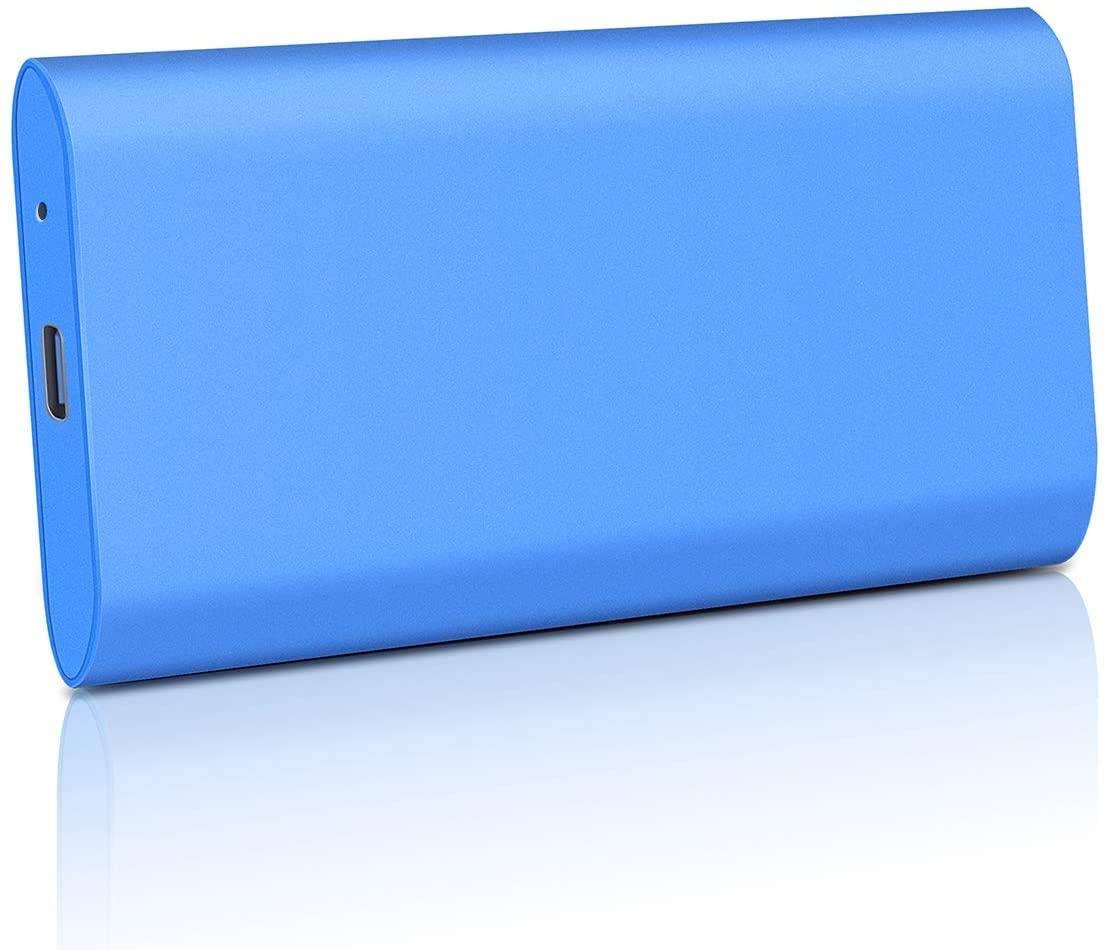 External Hard Drive 1TB 2TB, Portable Hard Drive External USB 3.1/Type-C Slim Hard Drive Data Storage Compatible with PC, Laptop and Mac (2TB, Blue)