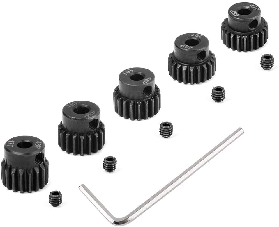 Hobbypark Metal Steel 48P Pinion Gear Set 3.175mm Shaft Hole 17T 18T 19T 20T 21T 48 Pitch Motor Gears Kit for RC Car (5-Pack)