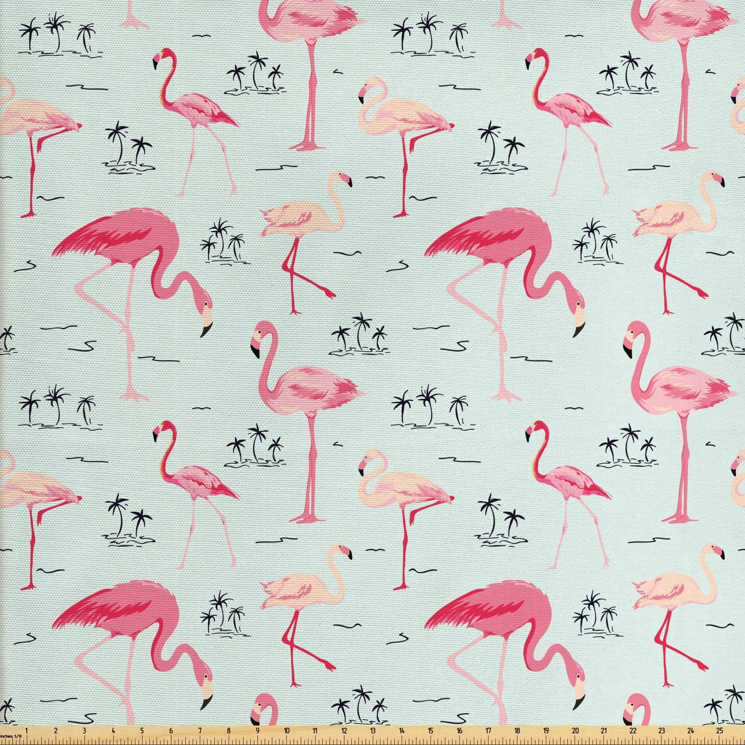 Ambesonne Flamingo Fabric by The Yard, Tropical Summer Exotic Birds and Palms, Decorative Fabric for Upholstery and Home Accents, 1 Yard, Blue Pink