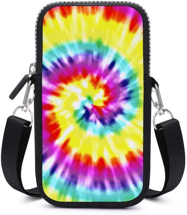 Women Girls Lightweight Soft Mini Pouch Shoulder Bag Small Crossbody Cell Phone Bag Handbag Purse Wallet with Adjustable Strap (Unique Tye Dye Art)