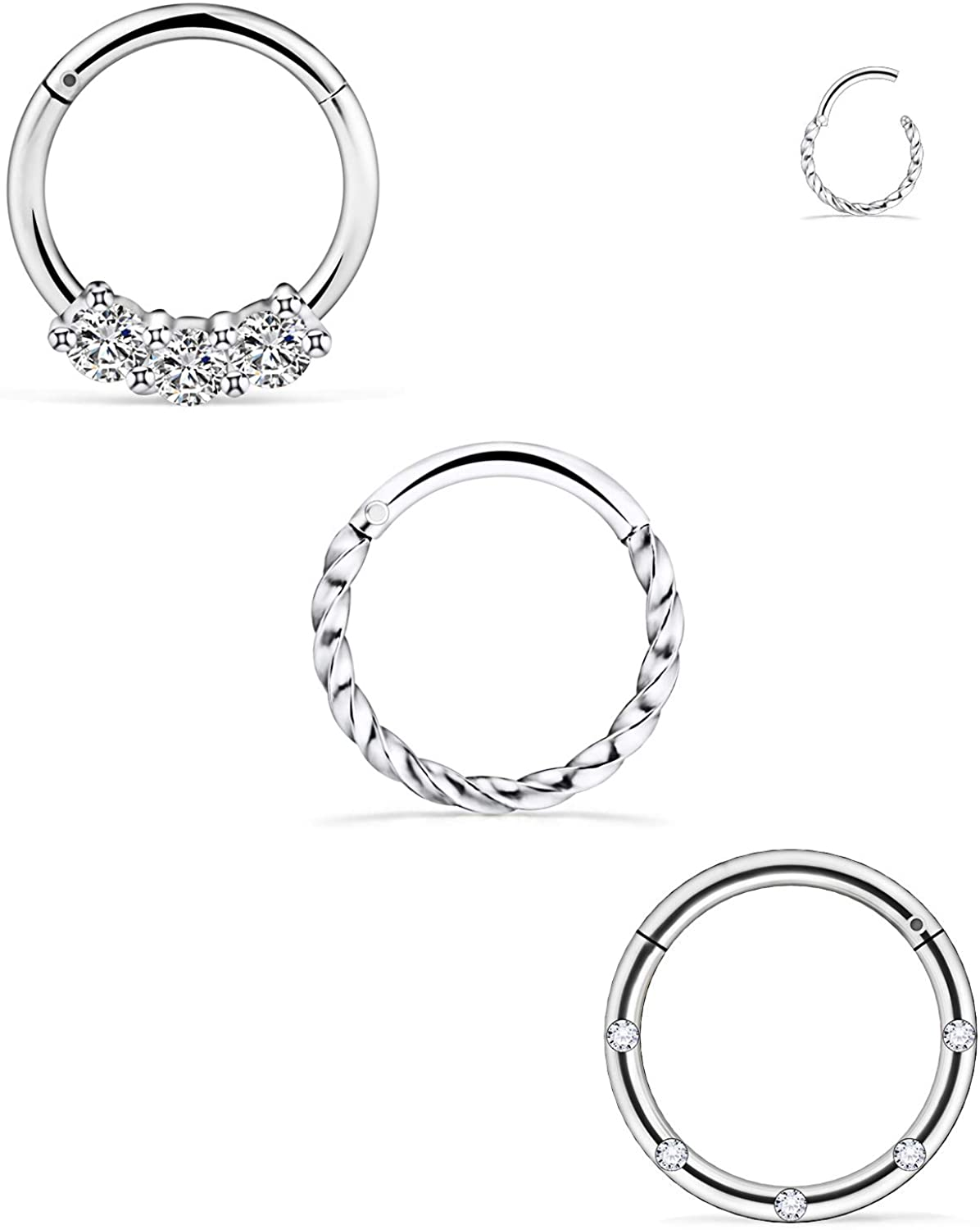 Dyknasz Septum Ring 16G Surgical Steel Nose Hoop Ring Septum Clicker Hinged Seamless Segment Ring Piercing Jewelry for Women Men Clear Diamond CZ Inlaid