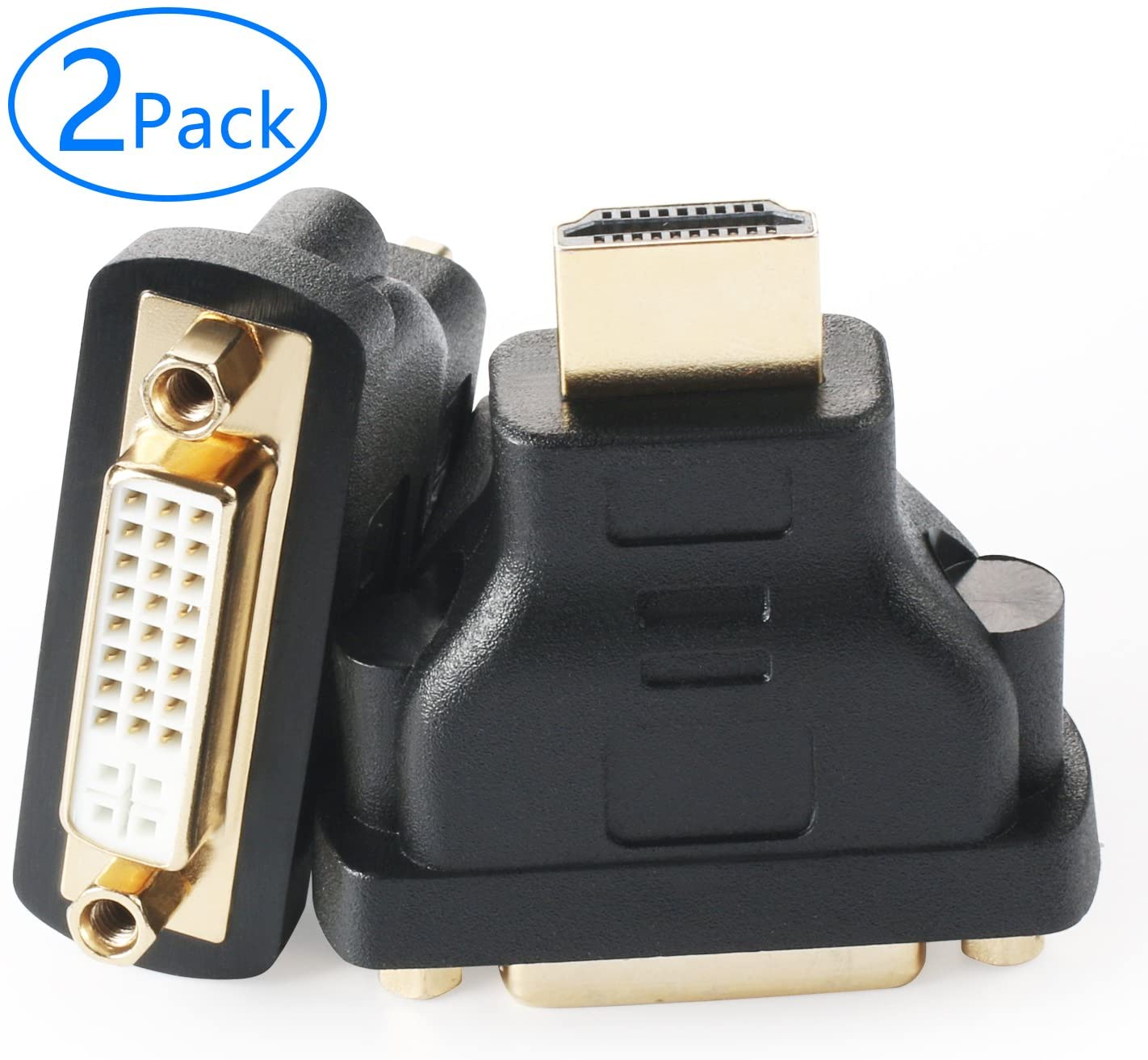 Tainston HDMI to DVI-D Adapter(2 Pack) HDMI Male to DVI24+1 Female Adapters Gold Plated