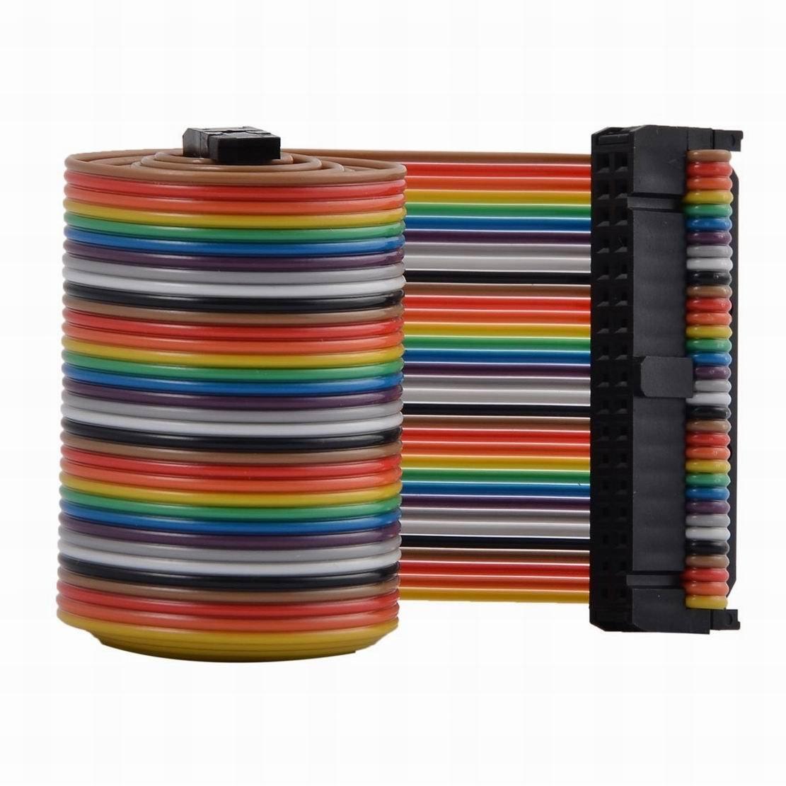 Houseuse F/F 66cm 34-Pin Flexible Breadboard Jumper Wire Ribbon Cable Line Multicolor