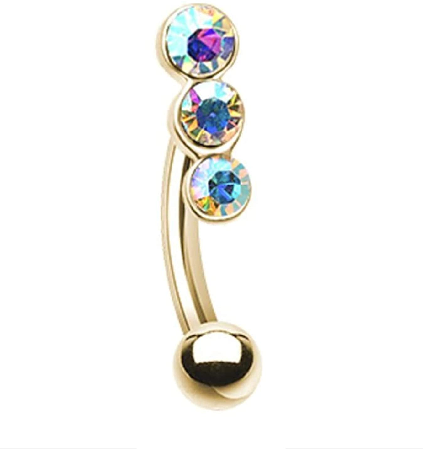 Amelia Fashion 16 Gauge Golden Triple Linear Gem Curved Barbell/Eyebrow Ring 316L Surgical Stainelss Steel
