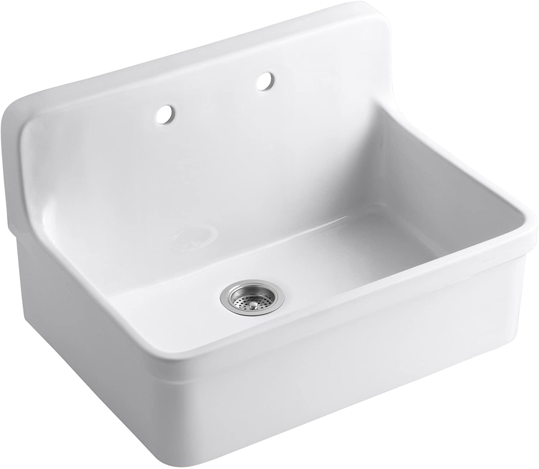 KOHLER K-12700-0 Gilford Apron-Front Wall-Mount Kitchen Sink, White