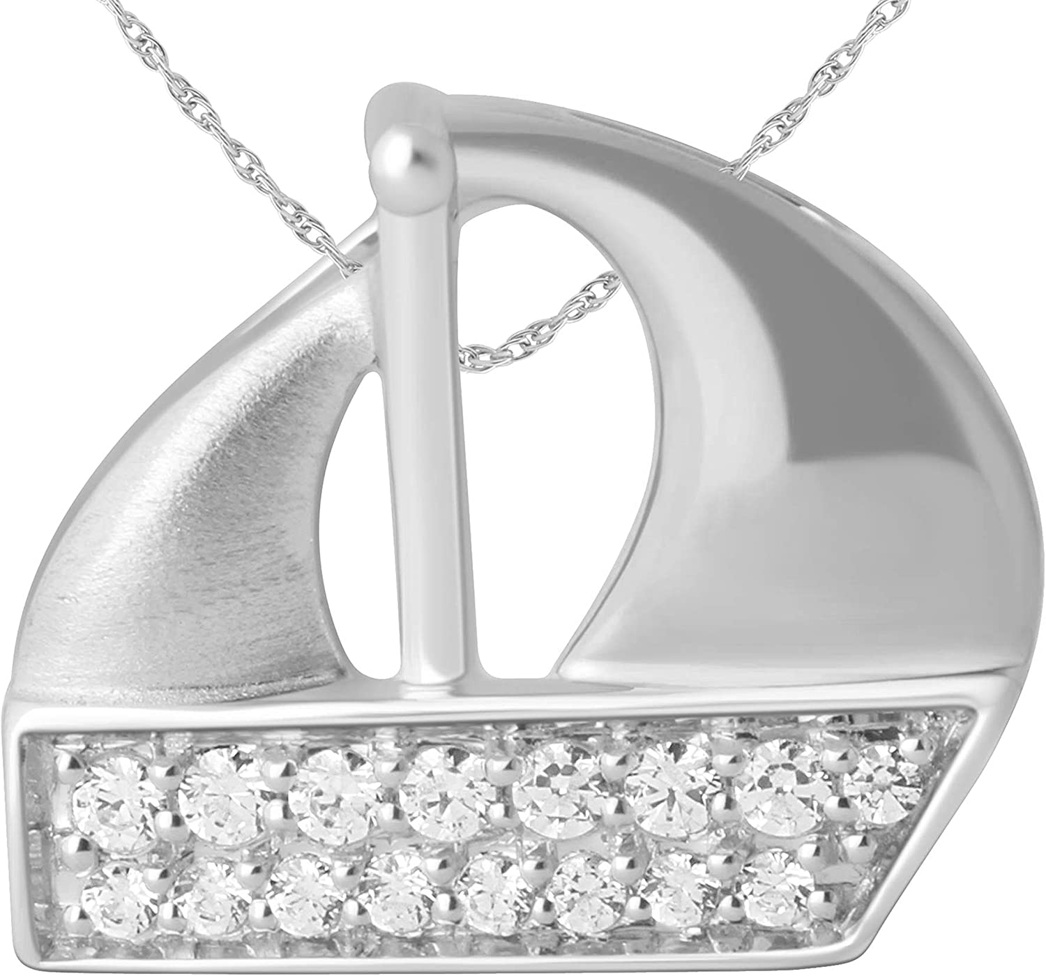 10K White Gold Diamond Accent Boat Pendant