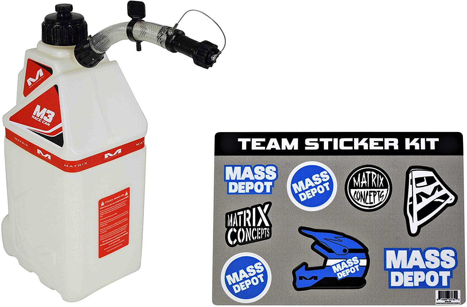 Matrix Concepts M3 4.0 Gal Utility Can Easy Pour Nozzel w Limited Edition 25 Piece Sticker Kit (Red)