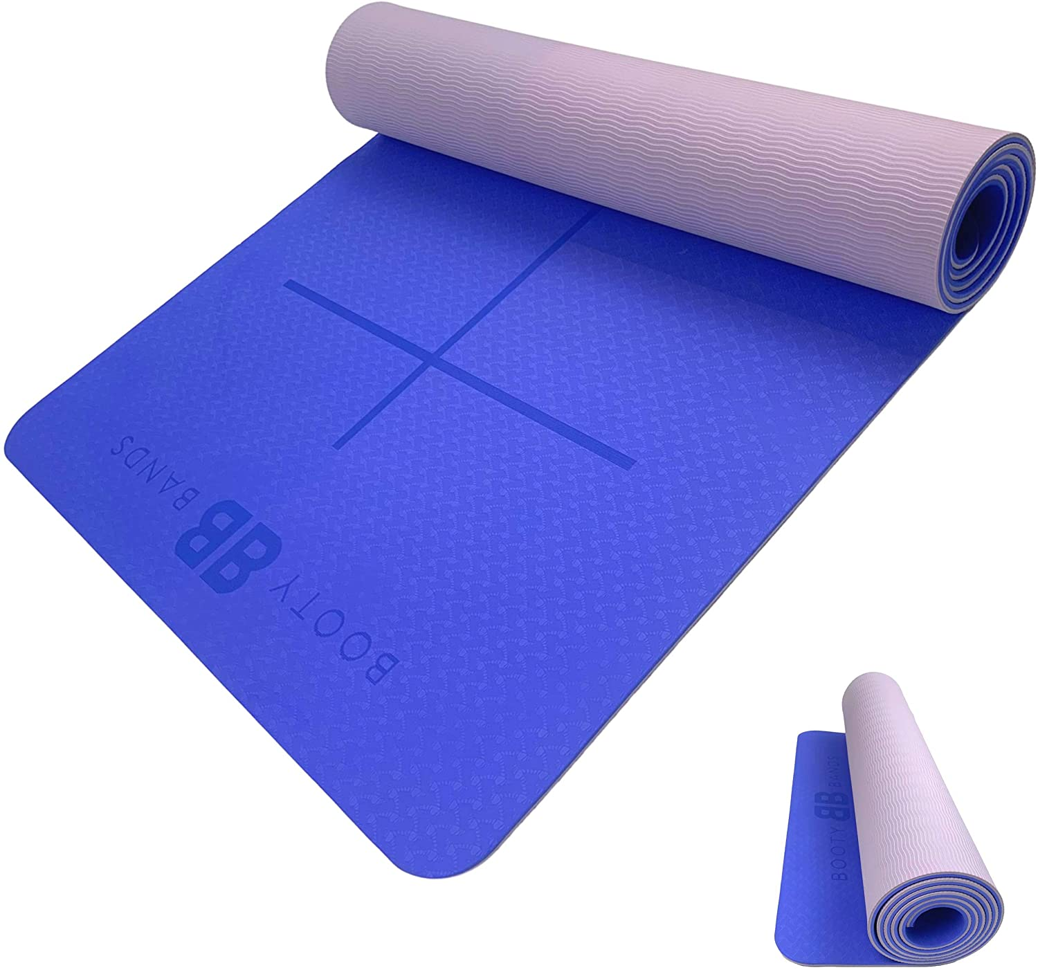 BOOTYBANDS ECO-Friendly Dual Skin Exercise Yoga MAT with Posture Lines
