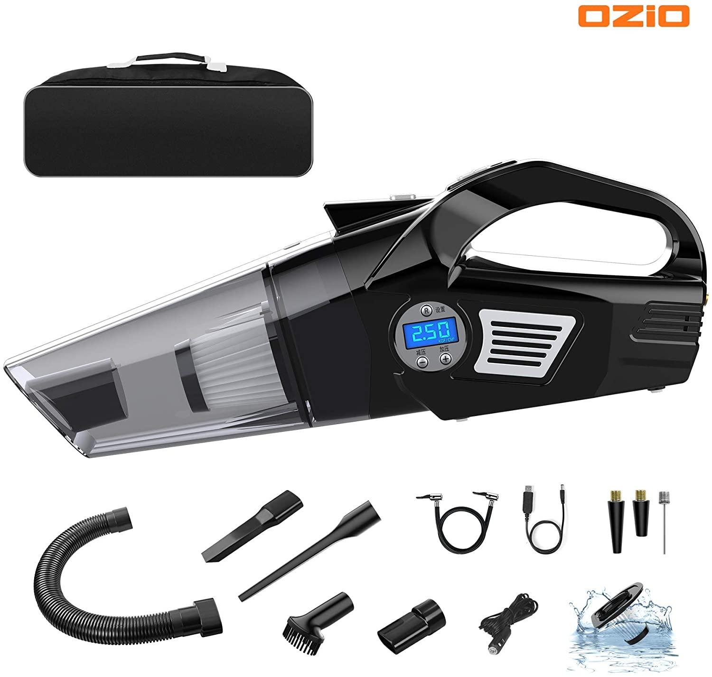 OZIO Car Vacuum Tire Inflator Portable Air Compressor with Digital Tire Pressure Gauge 6KPA Handheld Car Vacuum Cleaner with LED Light 12V DC Air Compressor Pump HEPA Filter (5500Pa)