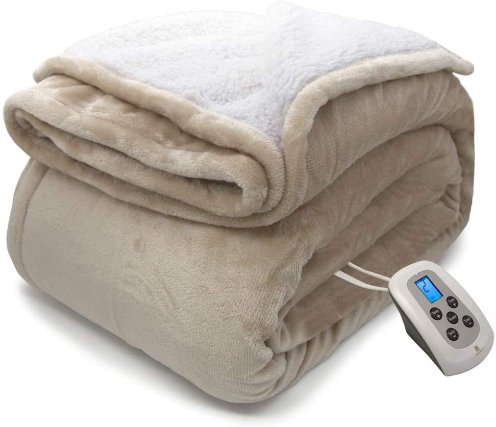 MARQUESS Electric Blanket MicroPlush Sherpa and Reversible Flannel Washable Comfortable with 4 Heat Settings, Washable & Reversible (Linen, 62