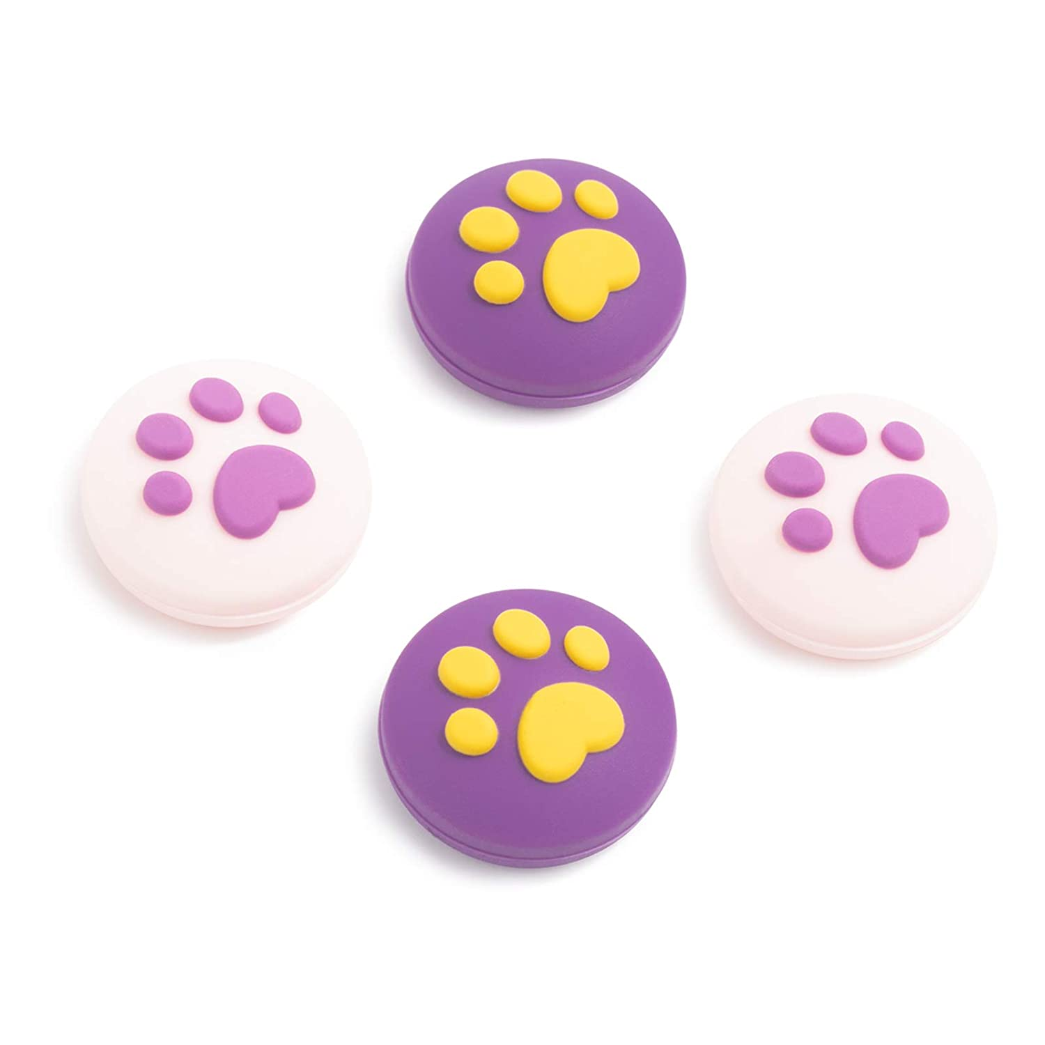 GeekShare Cute Cat Paw Theme Thumb Grip Caps,Compatible with Nintendo Switch & Switch Lite Only,Soft Silicone Joystick Cover,4PICS -- Pruple Crocus