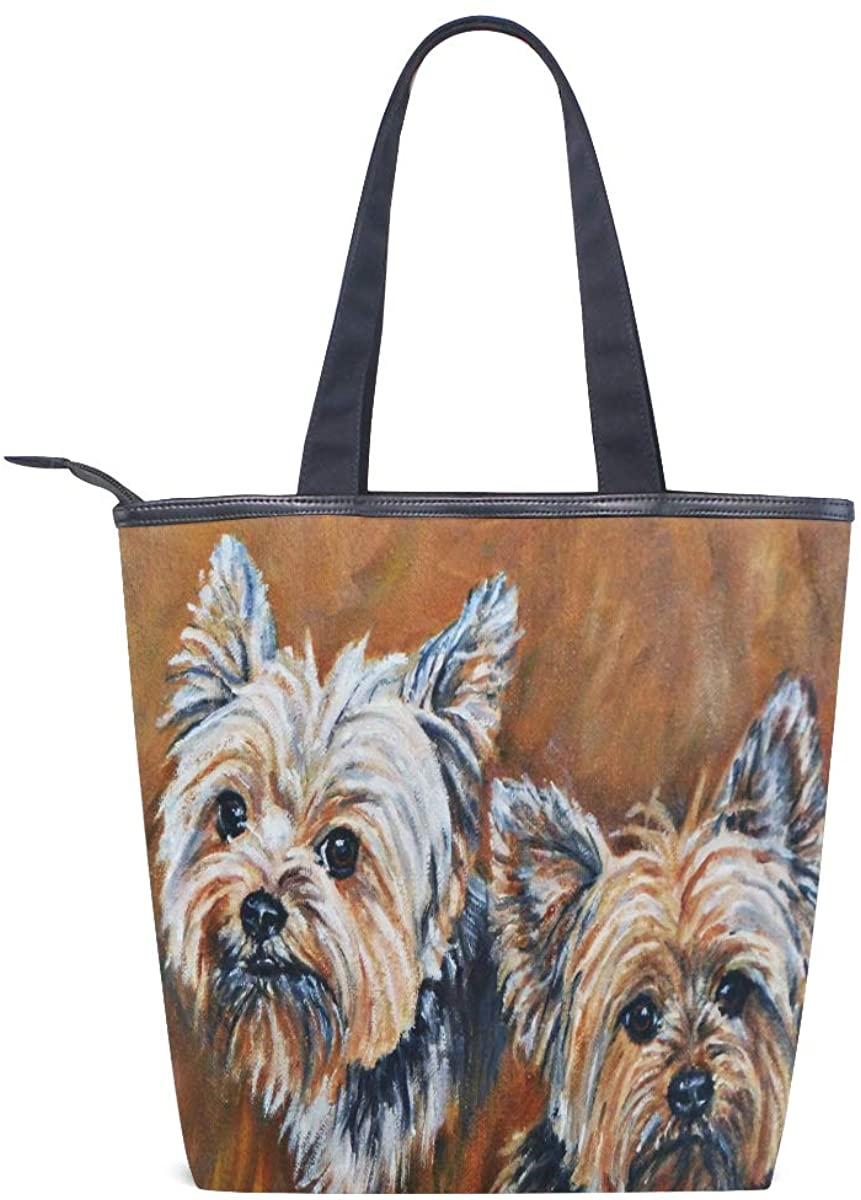 Women Yorkie Bro Shoulder Bags Casual Vintage Canvas Handbags Top Handle Tote Shopping Bags