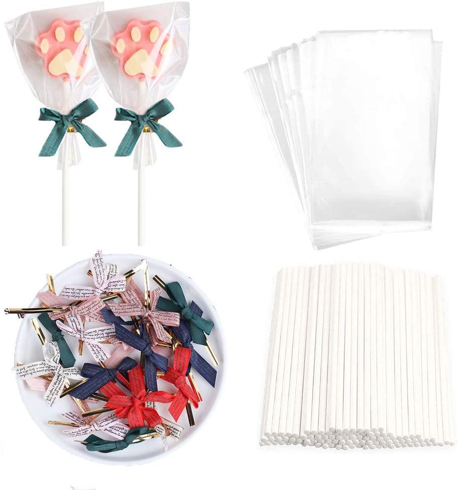 DIY Lollipop Treat Bag Set, 100 Pcs White Lollipop Sticks, 100 Pcs Lollipop Parcel Bags with 100 Pcs Colorful Bow Twist Ties