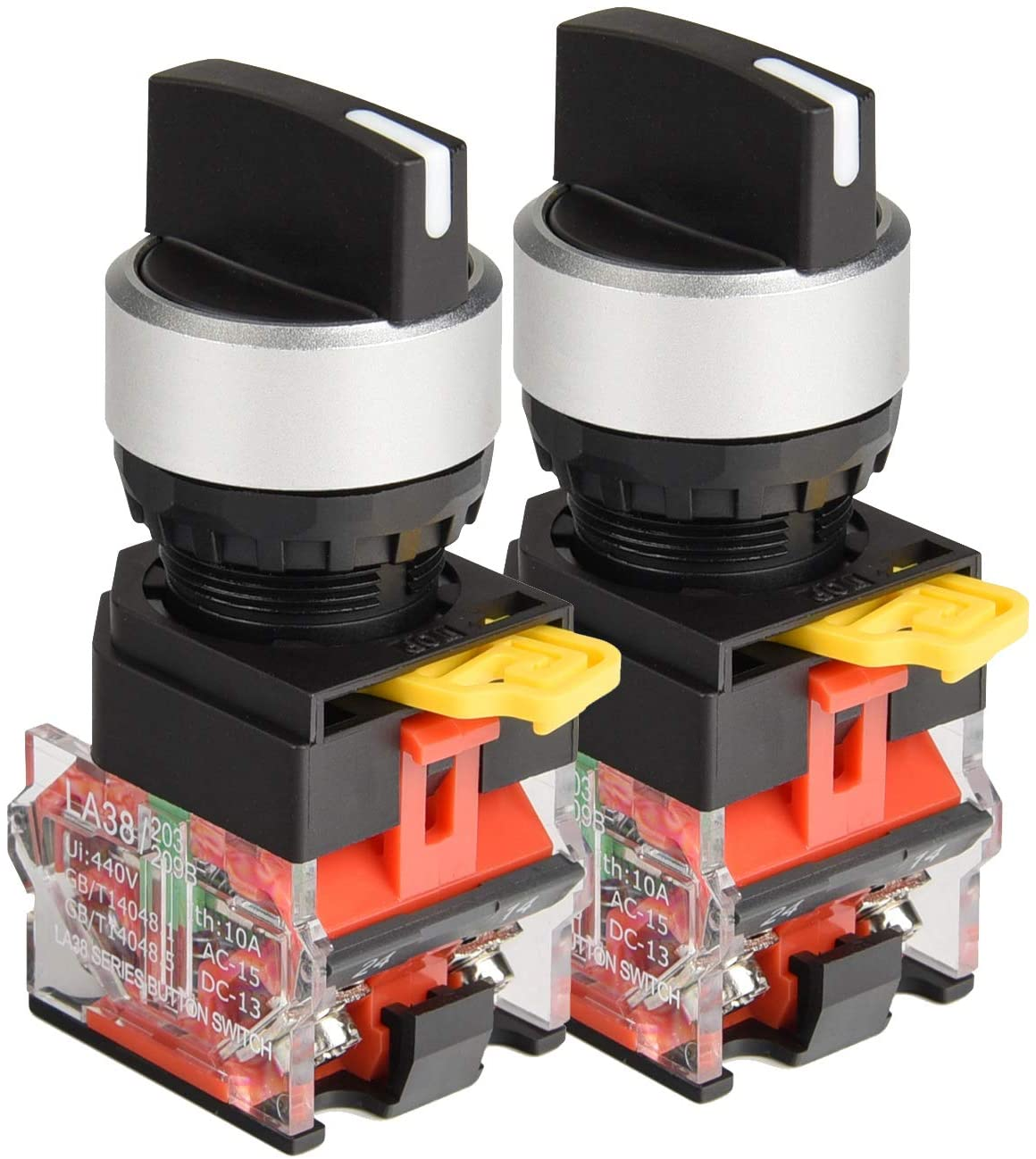 APIELE 22mm 3 Position Selector Switch 10A 440V Push Button Switch Maintained (Pack of 2)