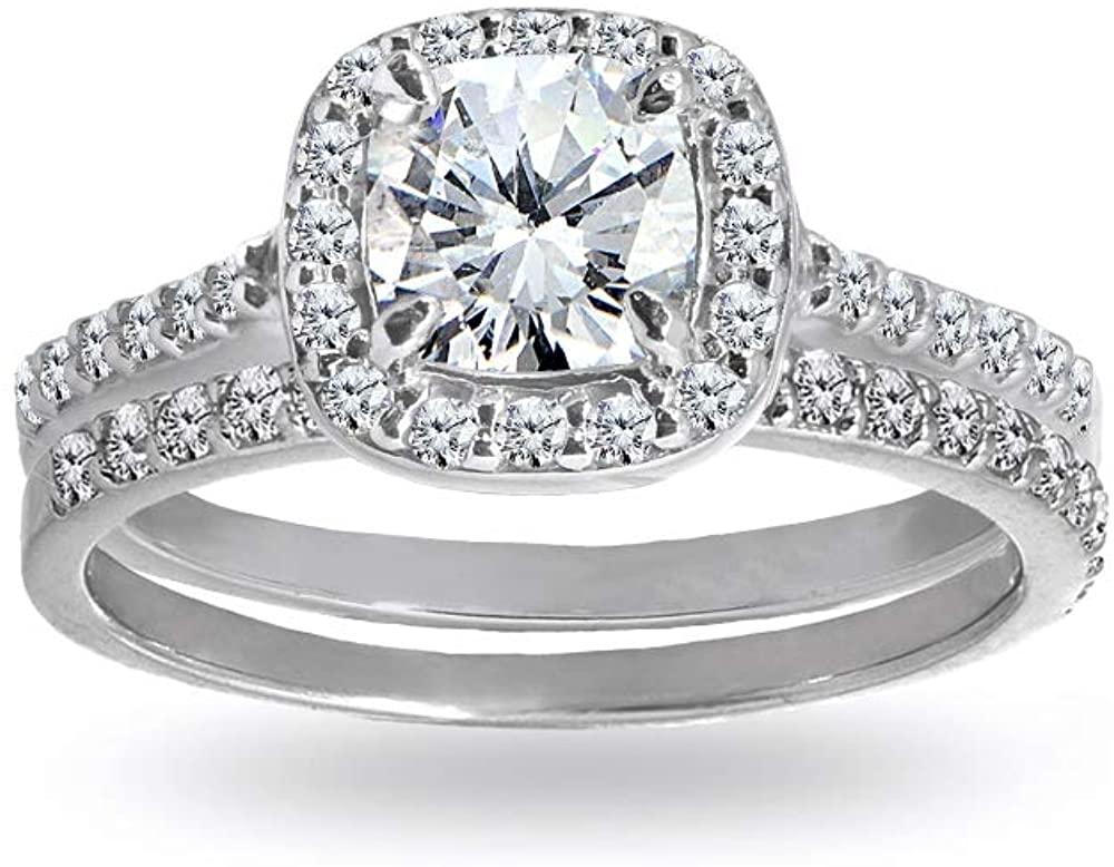 Sterling Silver Cubic Zirconia Cushion-cut Halo Bridal Wedding Band Engagement Ring Set