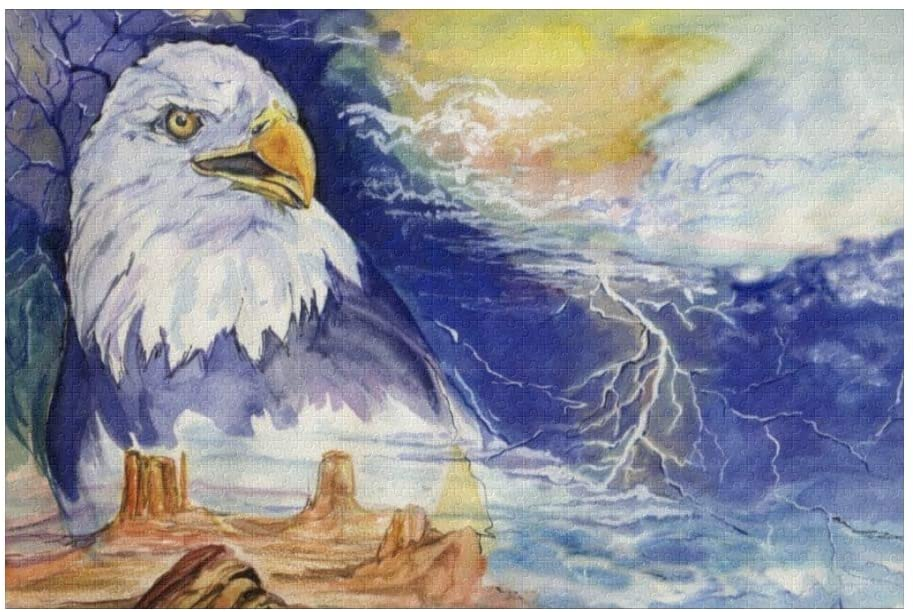 Custom 1000 Pieces Puzzle Funny Novelty Jigsaw Puzzle Eagle Starry Night DIY Toys for Adults Children Gift Home Decoration
