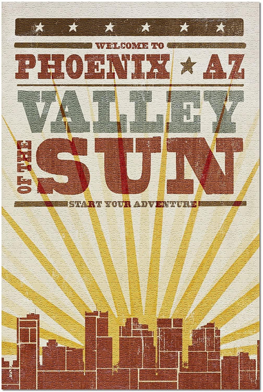 Phoenix, Arizona - Skyline and Sunburst Screenprint Style 67883 (19x27 Premium 1000 Piece Jigsaw Puzzle for Adults)