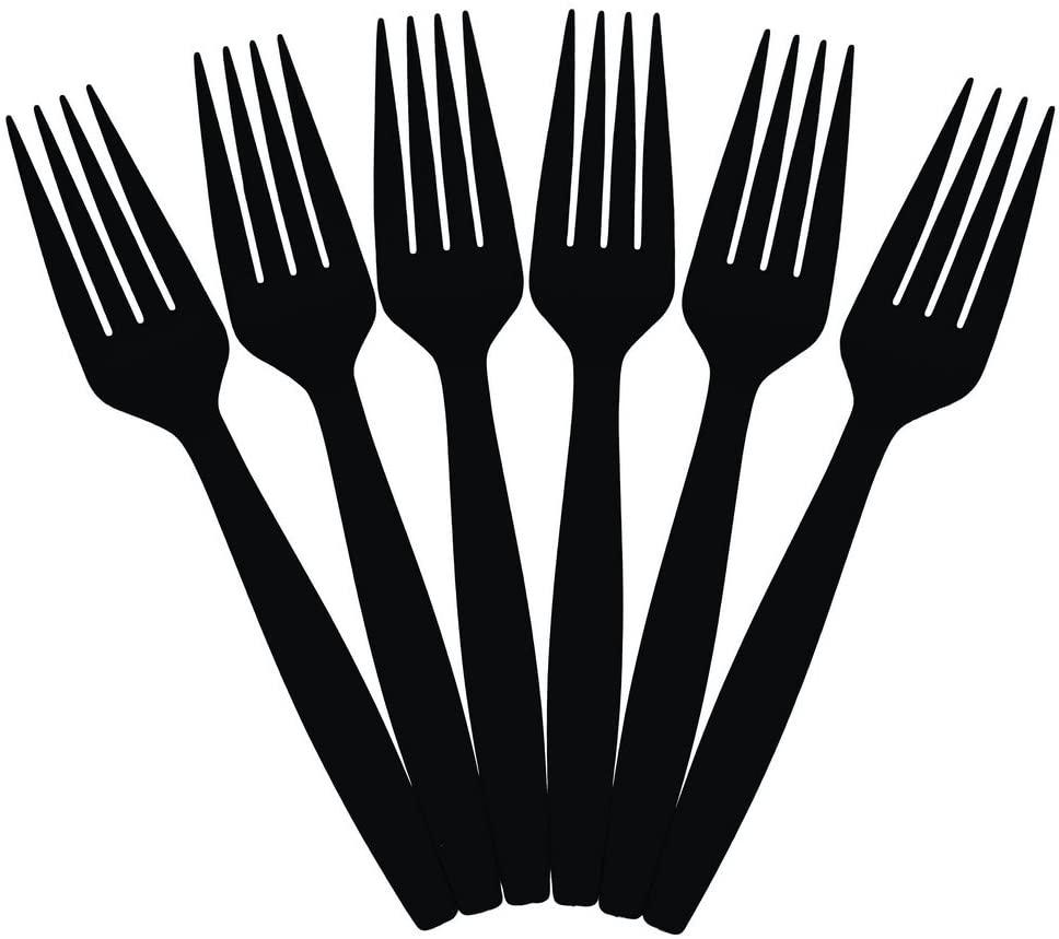 JAM PAPER Big Party Pack of Premium Plastic Forks - Black - 100 Disposable Forks/Box