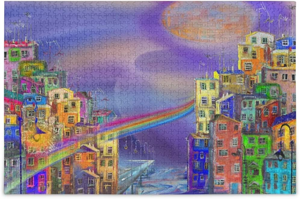 Jigsaw Puzzles 1000 Piece Oil Painting House Rainbow Toy Games Educational Gift Home Decor for Adults Kids 2041740
