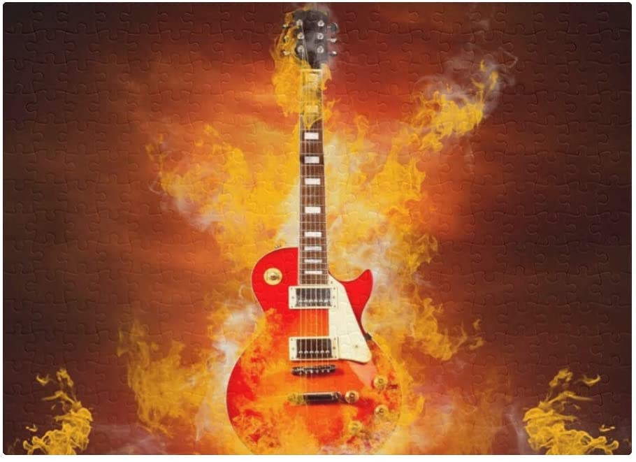 CUXWEOT Custom Puzzles Rock Fire Guitar 300 Pieces Jigsaw Puzzle Funny Novelty DIY Toys for Adult Children Gift Home Decoration