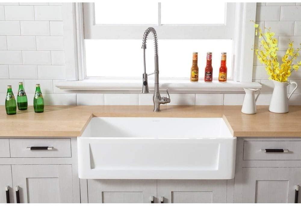 Kingston Brass Farmhouse Solid Surface White Stone 33-inch Single Bowl Kitchen Sink - 33