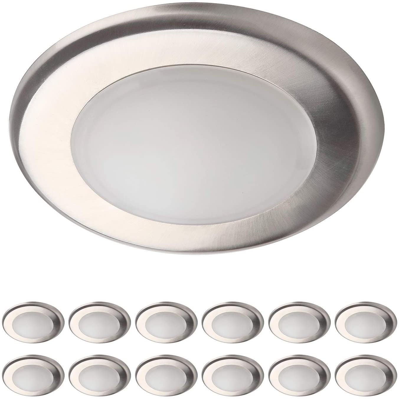 OSTWIN 12 Pack 4 Inch LED Disk Light-Dimmable Low Profile Ceiling Light-Brushed Nickel Finish Flush Mount Fixture-10W(65W Eq.)-700 Lm-5000K-J-box or Recessed Can-ETL&Energy Star