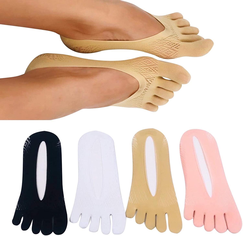 4 Pairs Women Toe Socks Ultra Low Cut No Show 5 Fingers Toe Socks