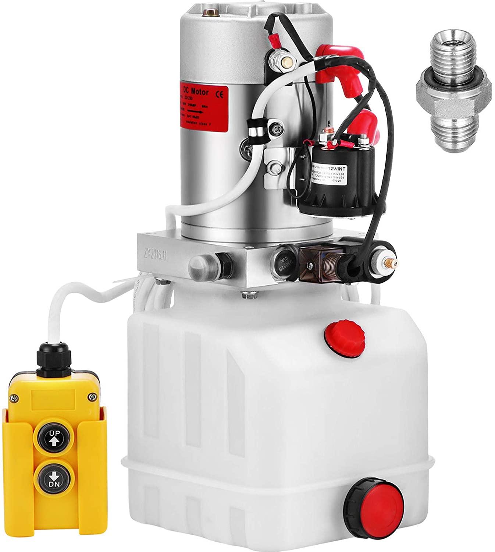 Mophorn 4 Quart Hydraulic Pump for Dump Trailer Hydraulic Power Unit 12V Hydraulic Pump Single Acting Dump Truck Hydraulic Pump(Plastic, 4 Quart/Single Acting)
