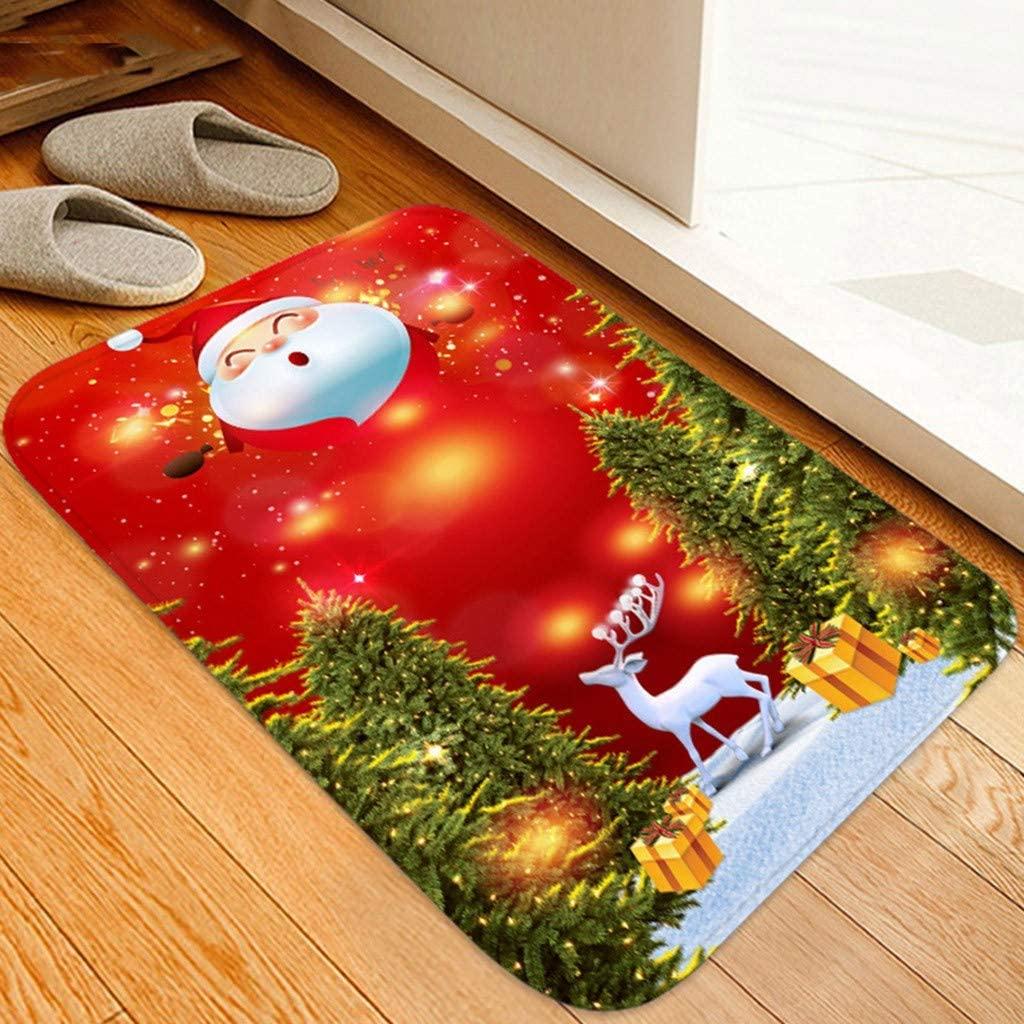 Shan-S Christmas Carpet Merry Christmas Tree Reindeer Santa Claus Snowman Bell Red Welcome Doormats Non-Slip Kitchen Ornament Indoor Home Decor Carpets Runner Floor Rugs Mats Set