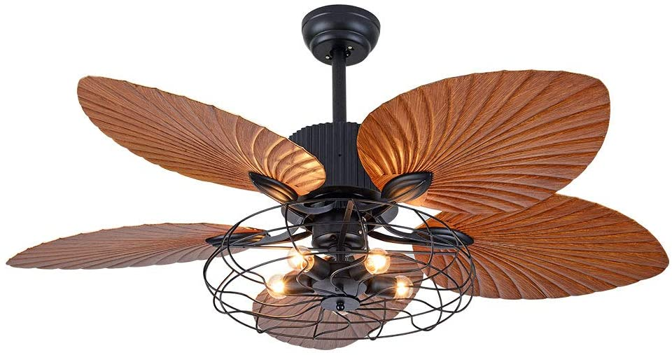 52inch Ceiling Fan Light 5 Wood Palm Leaf Blades Tropical Style 3 Speed Quiet Motor LED Reversible Fan Light Chandelier w/Remote for Bedroom Home Office Restaurant Bar Cafe (Bulb Not Include)