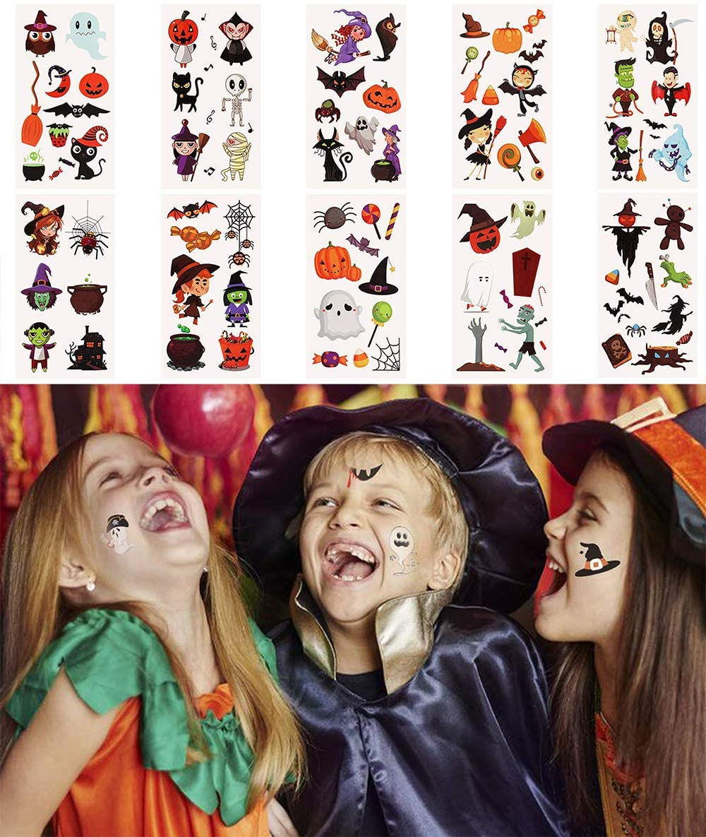 AiTuiTui Waterproof Halloween Temporary Tattoo Stickers for Kids, Different Designs Children Tattoos Halloween Trick or Treat Ghost Monster Pumpkin Tattoos Party Decorations, 10 Sheets