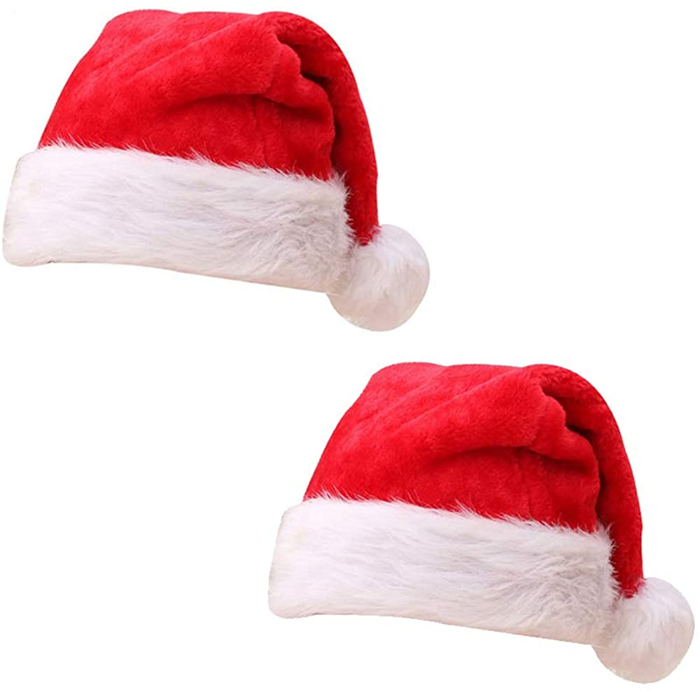 TangTanger 2 pcs Christmas Hat Christmas Decoration for Home Party Santa Hat Velvet Red and White Cap (Red)