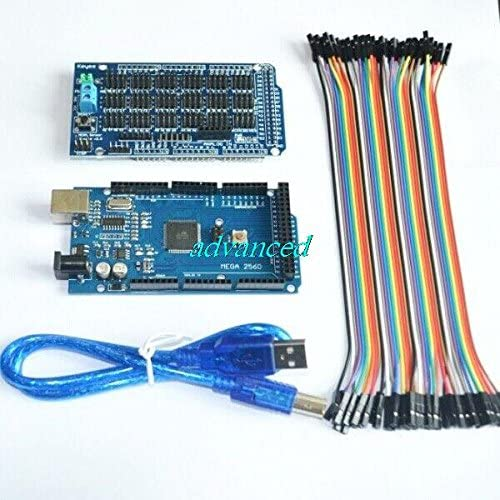 Eyoso 4 in 1 Kit Mega 2560 ATmega2560 + Sensor Shield V1.0 Expansion Board + USB Cable + DuPont Line- Blue