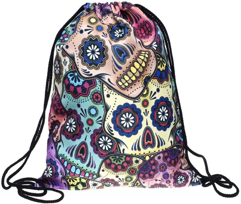 Drawstring Backpack - Gym Bag,Shopping,Swim,Walking, Climbing, Fishing, Traveling, Cycling ,Drawstring Backpack Bag for Men Women Gym Drawstring Bag,Basketball and Football Bag (Color skull)