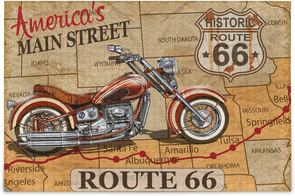 vvfelixl Vintage Route 66 Motorcycle Poster Jigsaw Puzzle 500 Pieces Wooden Puzzles DIY Gift Child Fun Family Game Difficult and Challenge for Adults Kids
