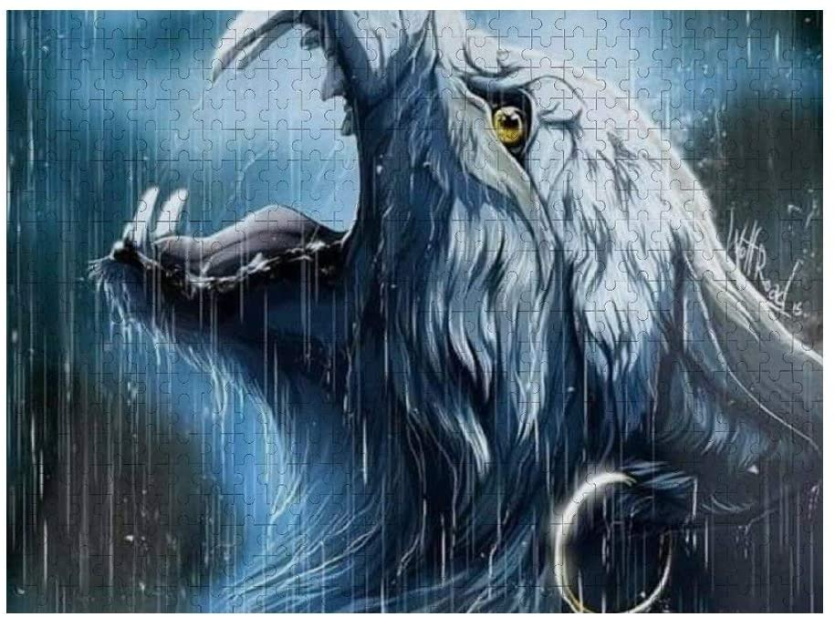 NiYoung Puzzles for Adults & Kids, 500 Piece Jigsaw Puzzles Large Puzzle Game Toys, Wolf in The Rain, 20.5 x 15