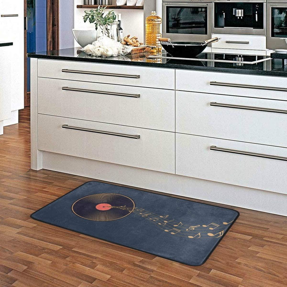 ALAZA Music Note Non Slip Kitchen Floor Mat Kitchen Rug for Entryway Hallway Bathroom Living Room Bedroom 39 x 20 inches(1.7' x 3.3')
