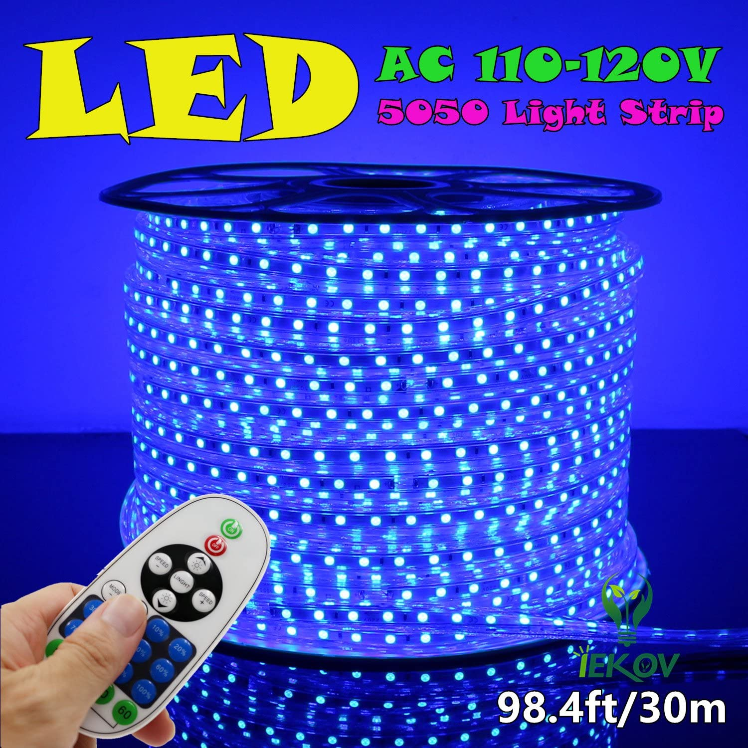 IEKOV AC 110-120V Flexible LED Strip Lights, 60 LEDs/M, Dimmable, Waterproof 5050 SMD LED Rope Light + Remote Controller for Christmas Home Decoration (98.4ft/30m, Blue)