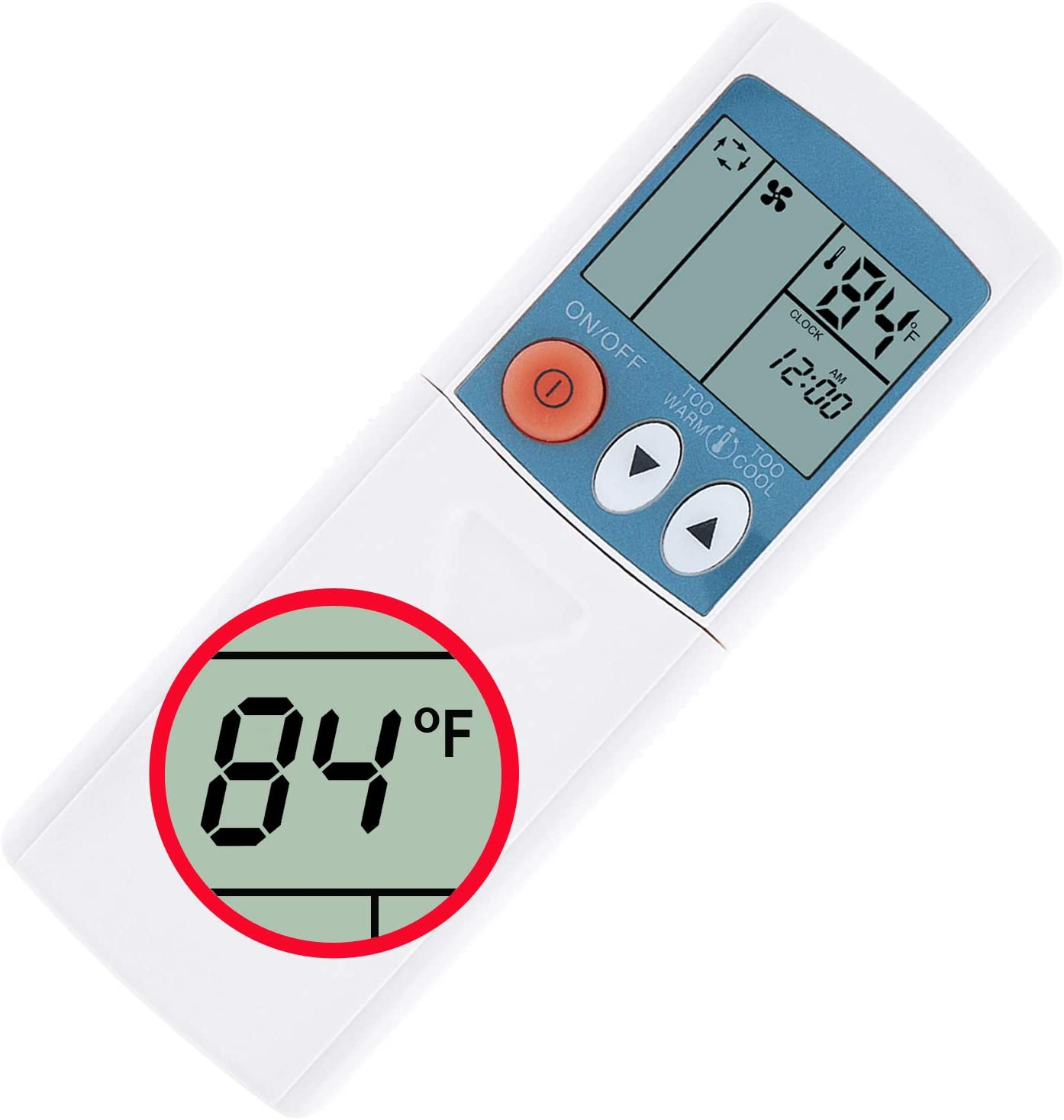 CHOUBENBEN Universal Remote Control for Mitsubishi Msz-Ge09na Msz-Ge12na Msz-Ge15na Msz-Ge18na Msz-Ge24na Msy-Ge09na A/C Air Conditioner Display in Fahrenheit