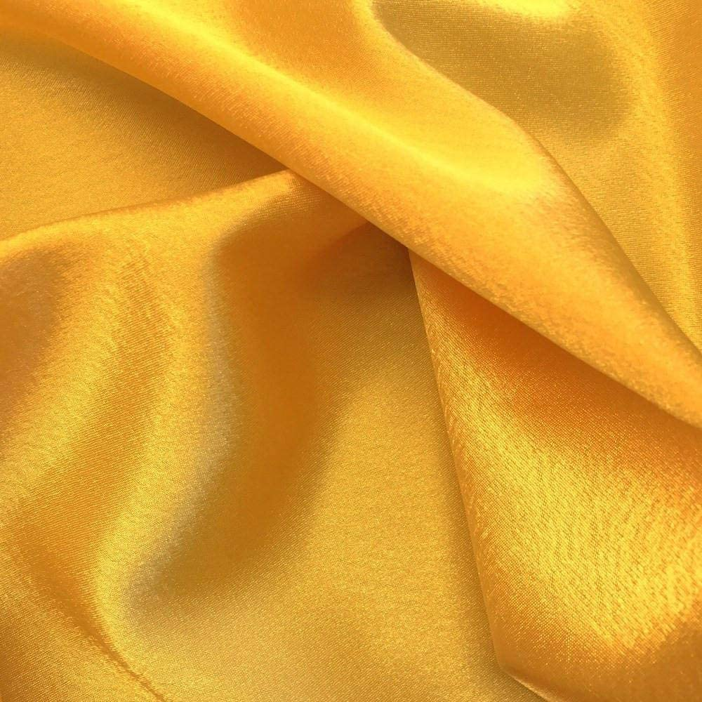 VDS Satin Fabric by The Yard for Wedding Bridal Decoration and Party Supplies Silky Satin 44''inch by The Yard Fabric (10 Yard Yellow Gold)